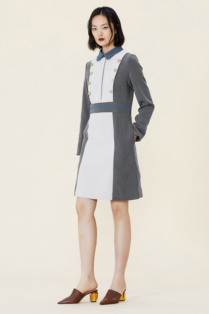 Load image into Gallery viewer, Colour Block Shirt Dress With Beige Front Pannel