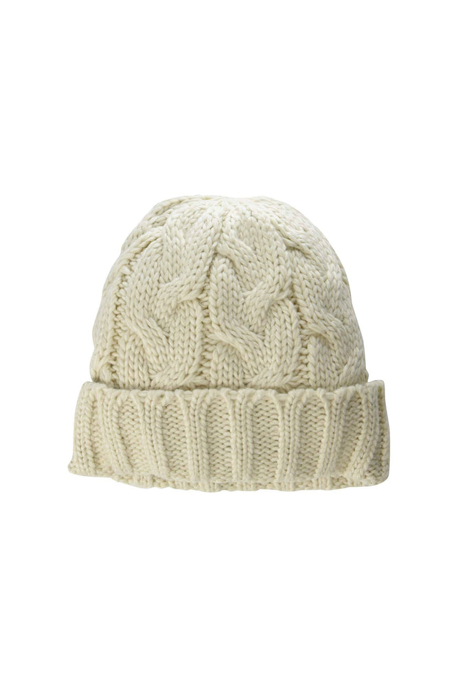 Fisherman cable cuff hat-Ivory