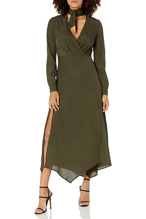 Load image into Gallery viewer, Kylie Green Wrap Dress With Neck Tie