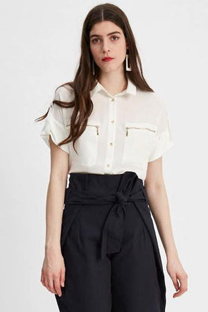 White Zip-Pocket Blouse