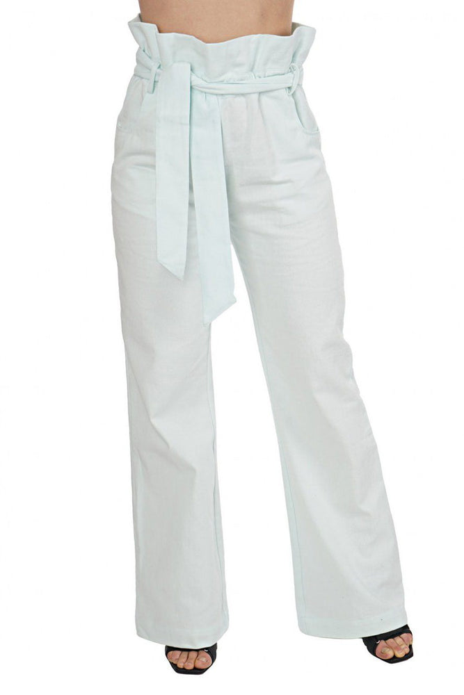 High Waisted Ruffle Pant - Ice