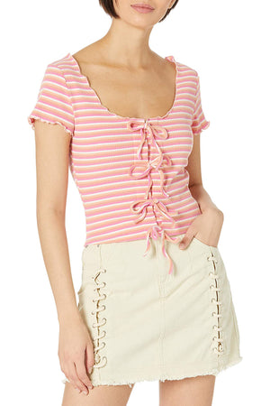 Cropped Knit Top With Front Tie