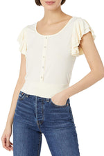Ruffle Tier Button Front Knit Top