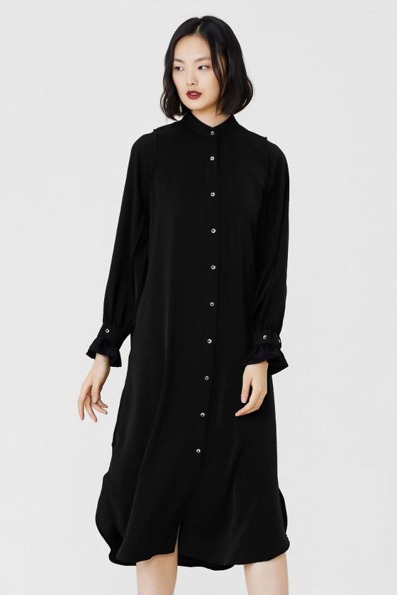 Midi Shirt Dress With Ruched Cuffs - Black