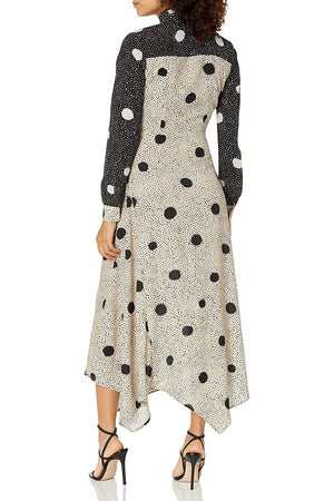 Polka Dot Wrap Dress With Neck Tie