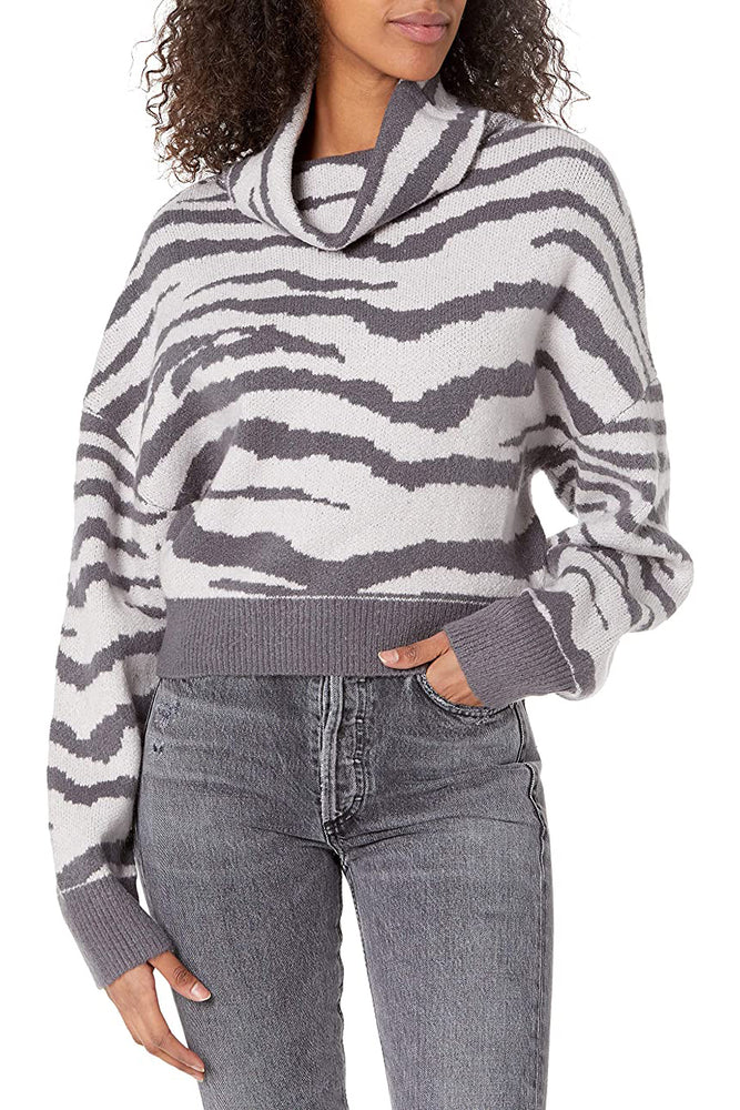 Mixed Grey Turtle Neck Sweater With Slit