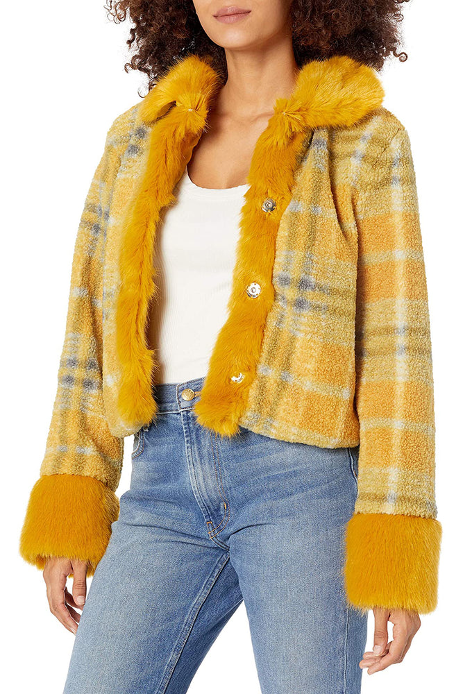 Cropped Mix Faux Fur Jacket