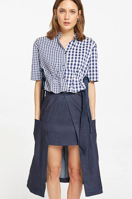 Asymmetric A-Line Midi Denim Skirt