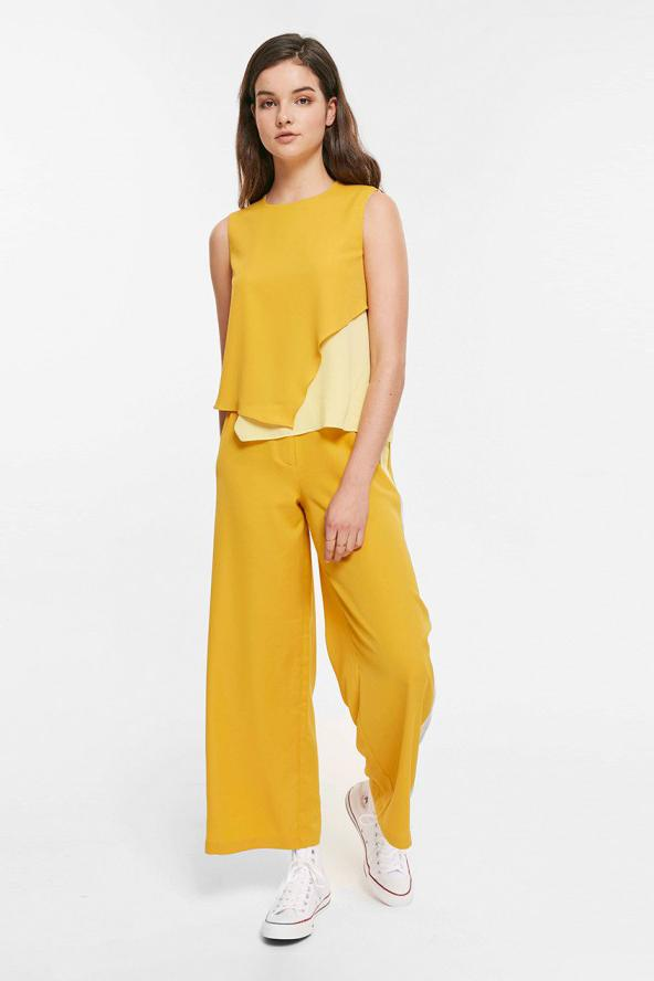 Bold Color Wide Leg Pants