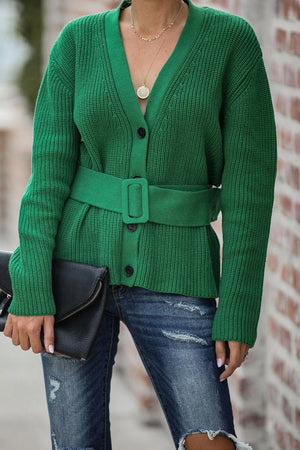 Load image into Gallery viewer, Cardigan Sweater With Belt