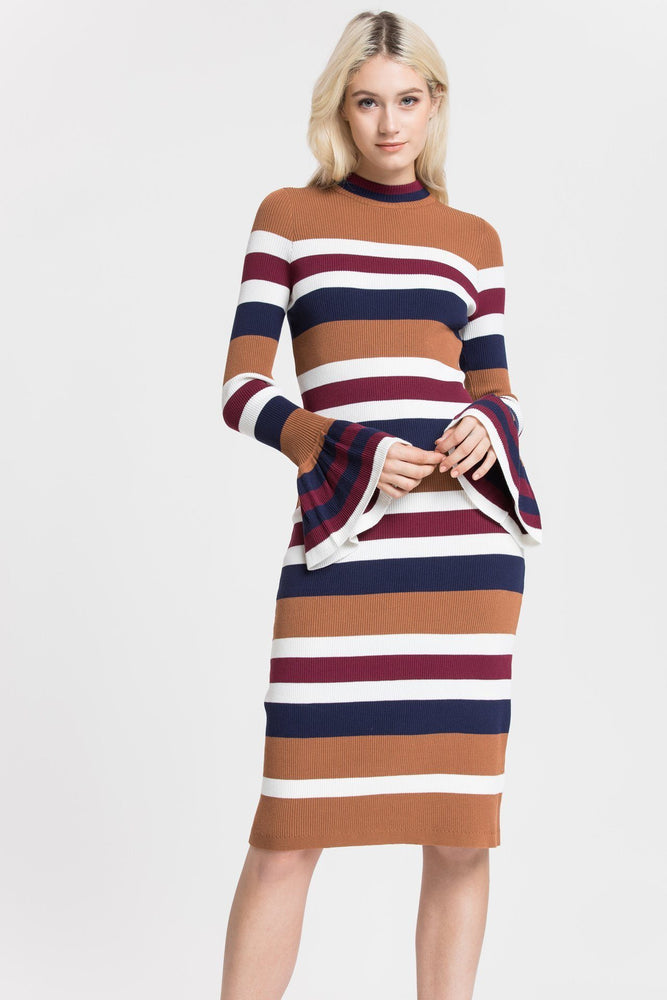 NEW IN - MULTI  STRIPED SWEATER DRESS