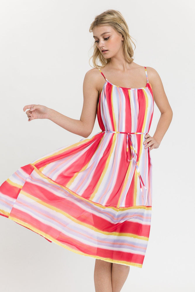 Multi Striped Flowy Dress