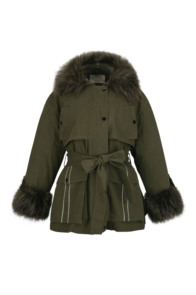 Khaki Doc Padded Jacket With Detachable Faux Furr Collar And Cuffs