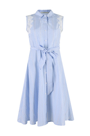 Load image into Gallery viewer, Baby Blue Checked Print Midi Dress