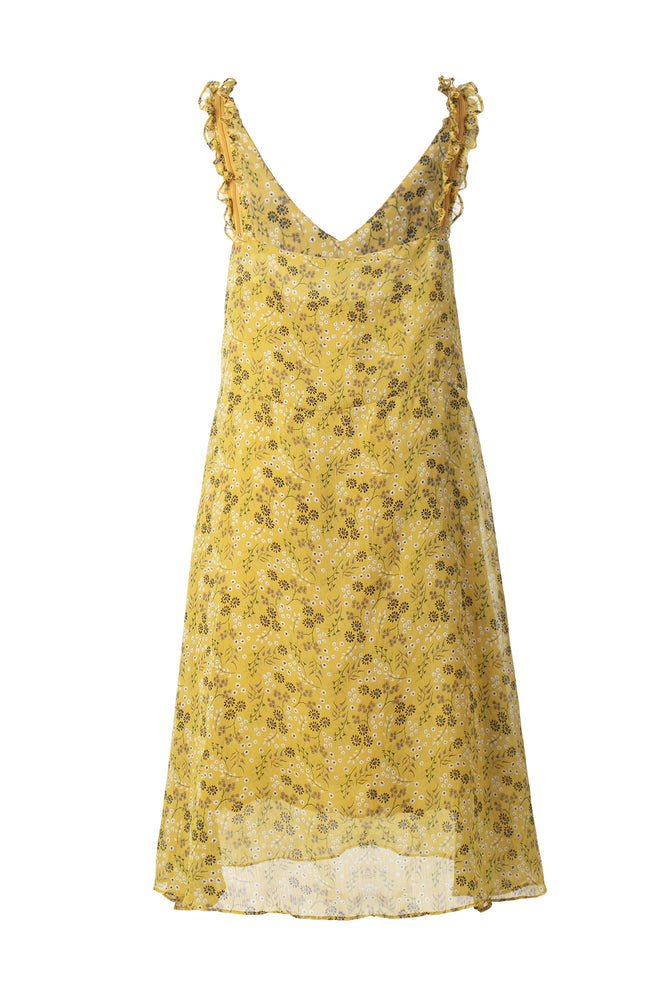 Mustard Yellow Floral Print Thin Strap Dress