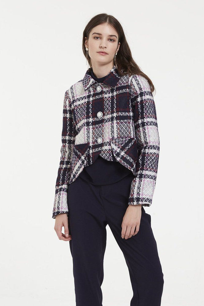Big tartan pattern blazer jacket