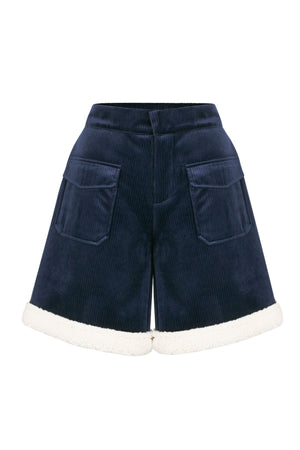 Load image into Gallery viewer, Navy Velvet High Waist Shorts