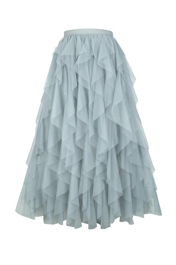 Maxi Tulle Ruffle Skirt With Multi Tier Layers