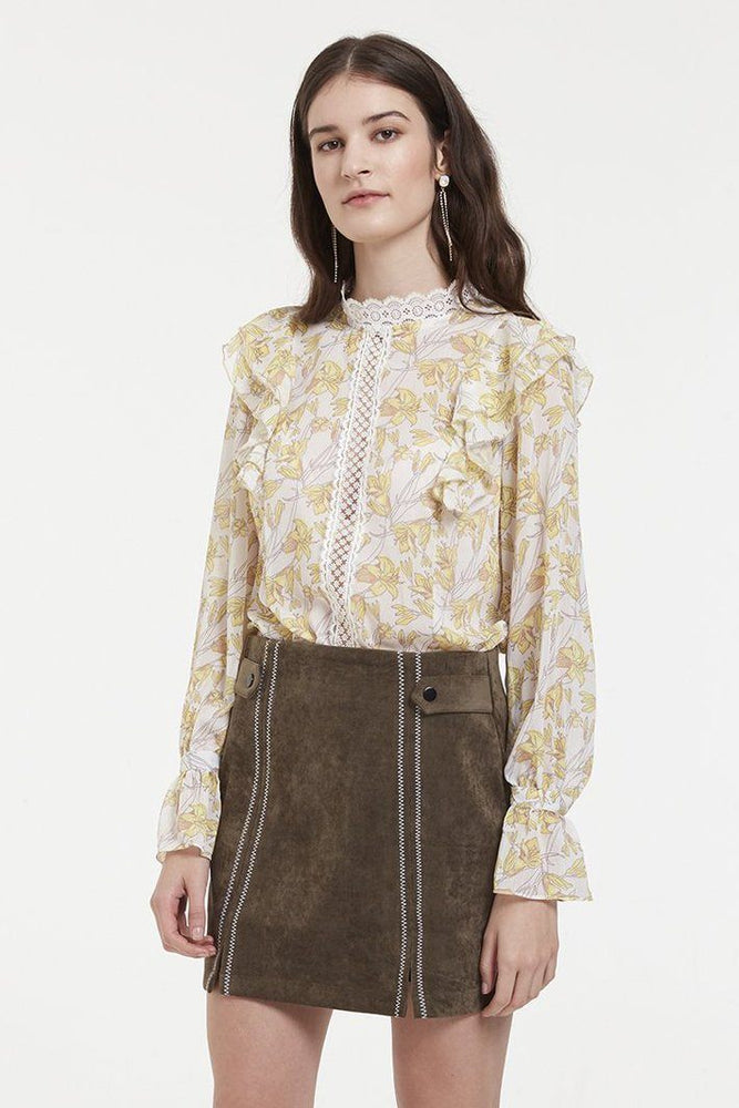 Yellow Flower Print Chiffon Blouse With Ruffle Shoulders Details