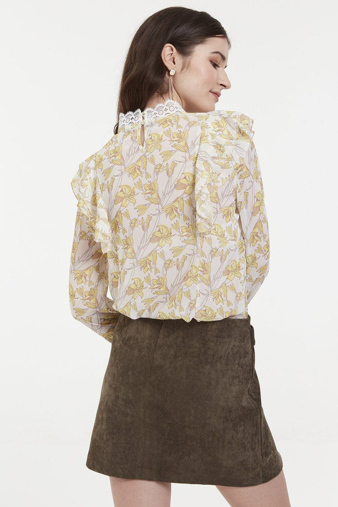 CLOTHING - Yellow Flower Print Chiffon Blouse With Ruffle Shoulders Details