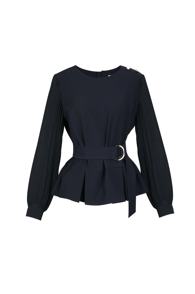 Navy Blouse With Pleated Peplum Detail