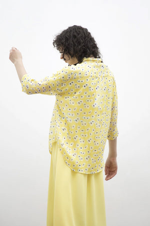 Floral Blouse With Mid-Length Sleeves