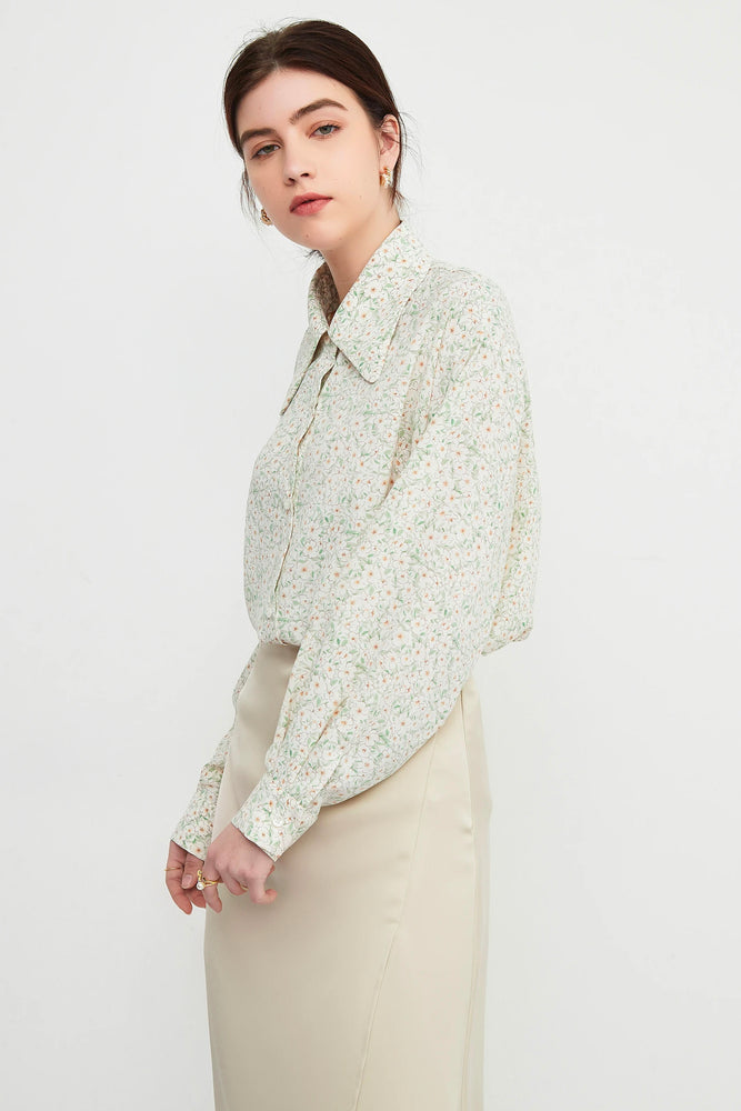 Micro Floral Print Oversized Shirt - Yellow
