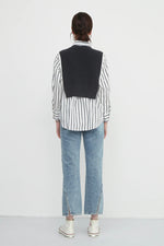 Classic Striped Shirt With Knit Bib in Black