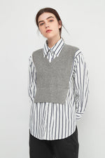 Classic Striped Shirt With Knit Bib in Grey