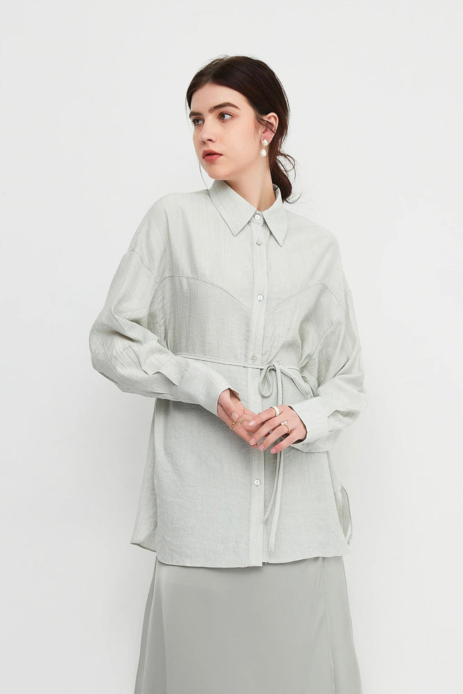 Sweetheart Panelled Long Belted Shirt