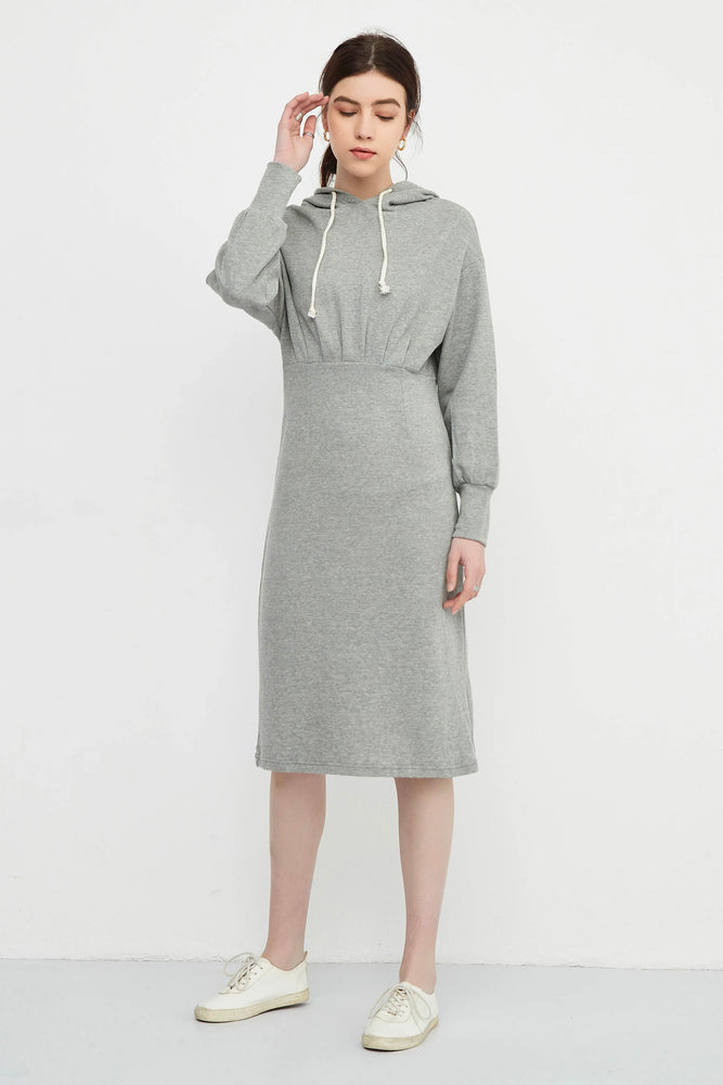 High Waist Fitted Hooded Dress