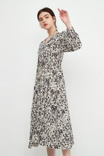 A-line Blotted Print Dress