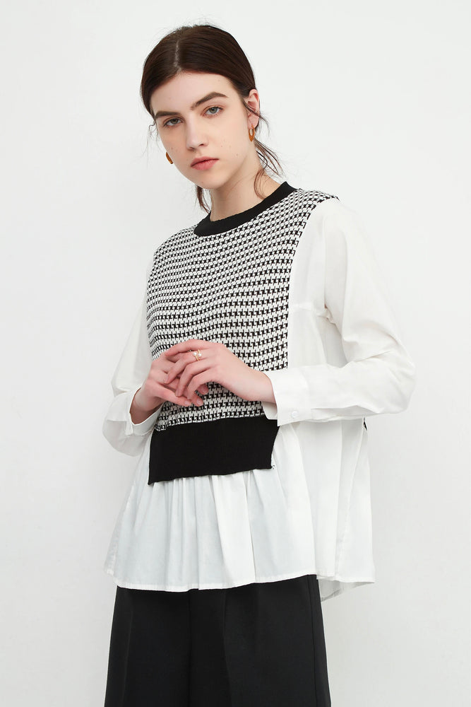 Black Babydoll Blouse With Houndstooth Knit Bib