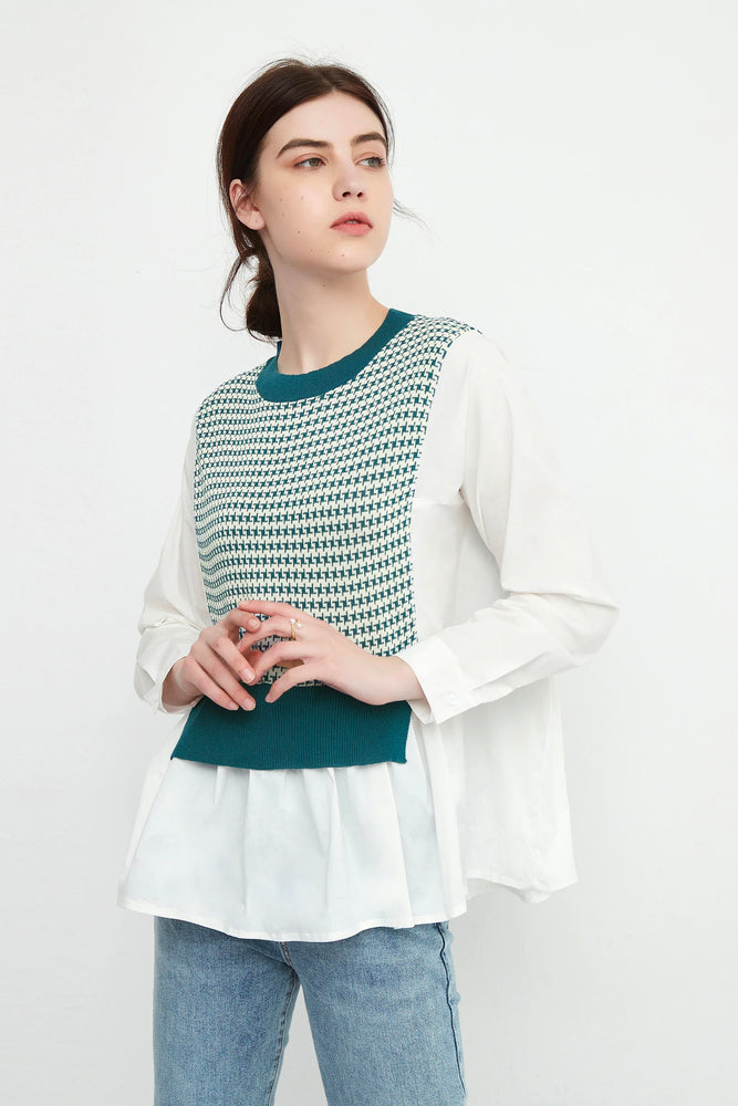 Babydoll Blouse With Houndstooth Knit Bib