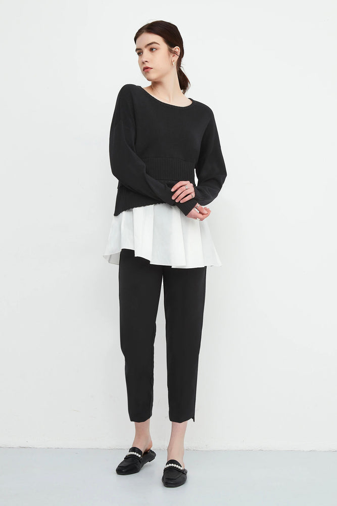 Asymmetric Knit Top With Babydoll Underlayer