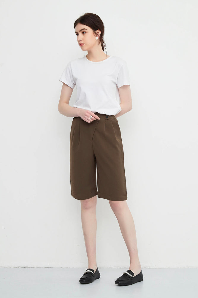 Brown Crossover Tailored Bermuda Shorts
