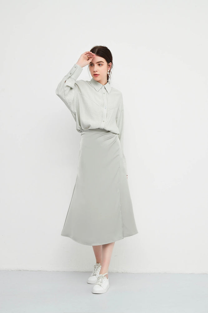 Light Grey High Waisted A-line Wrap Skirt