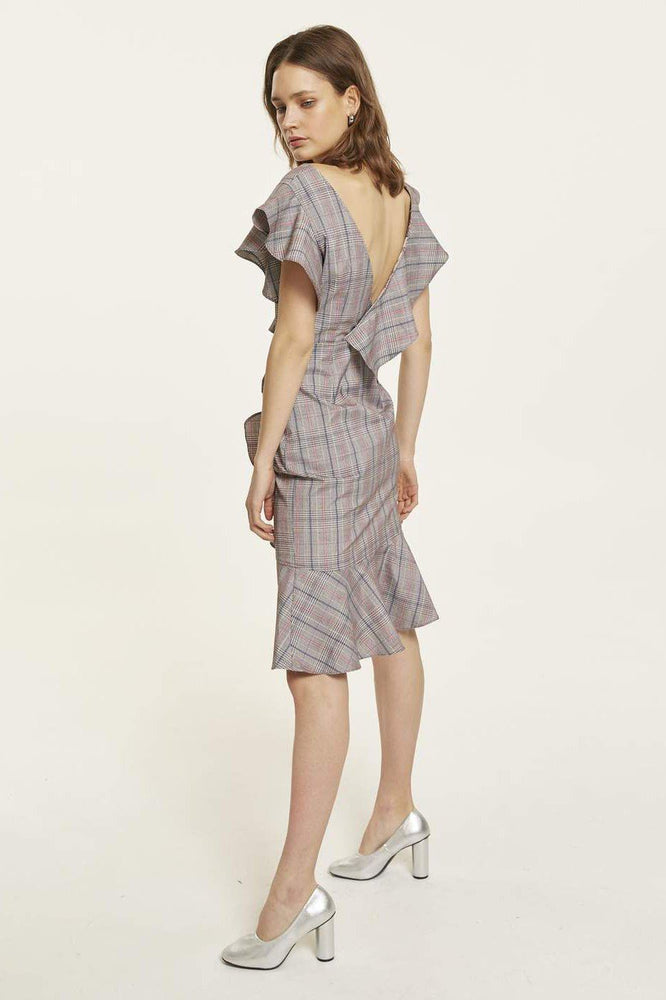 Grey Asymmetric Ruffle Plaid Dress