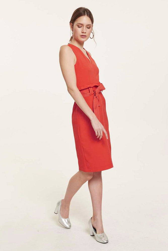 CLOTHING - Red V Neck Dress With Belt And Ruffles