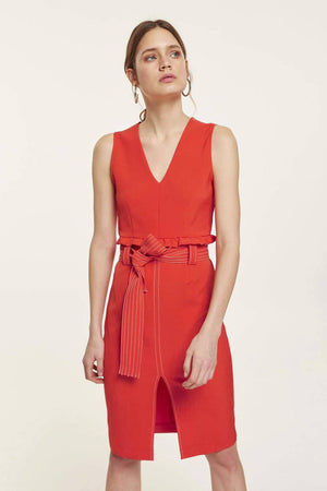Red V Neck Dress With Belt And Ruffles