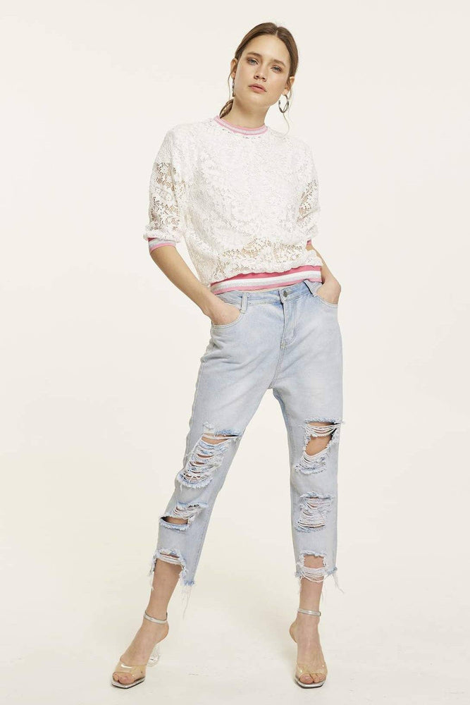 CLOTHING - White Lace Top With Mid-Length Sleeves