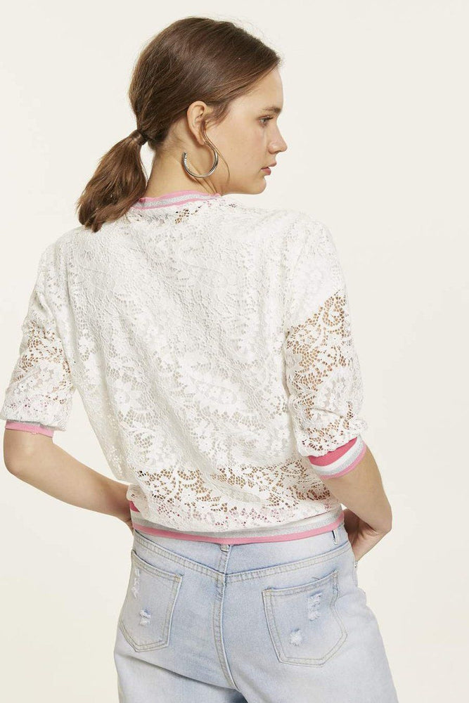 White Lace Top With Mid-Length Sleeves