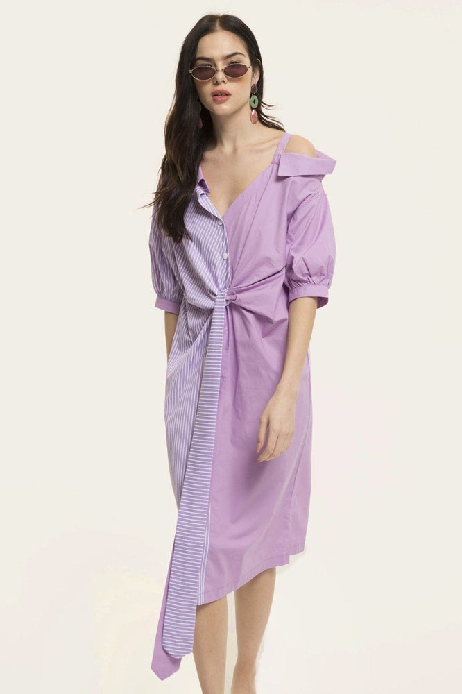 Purple Stripes Asymmetric Of Shoulder Shirt Dress