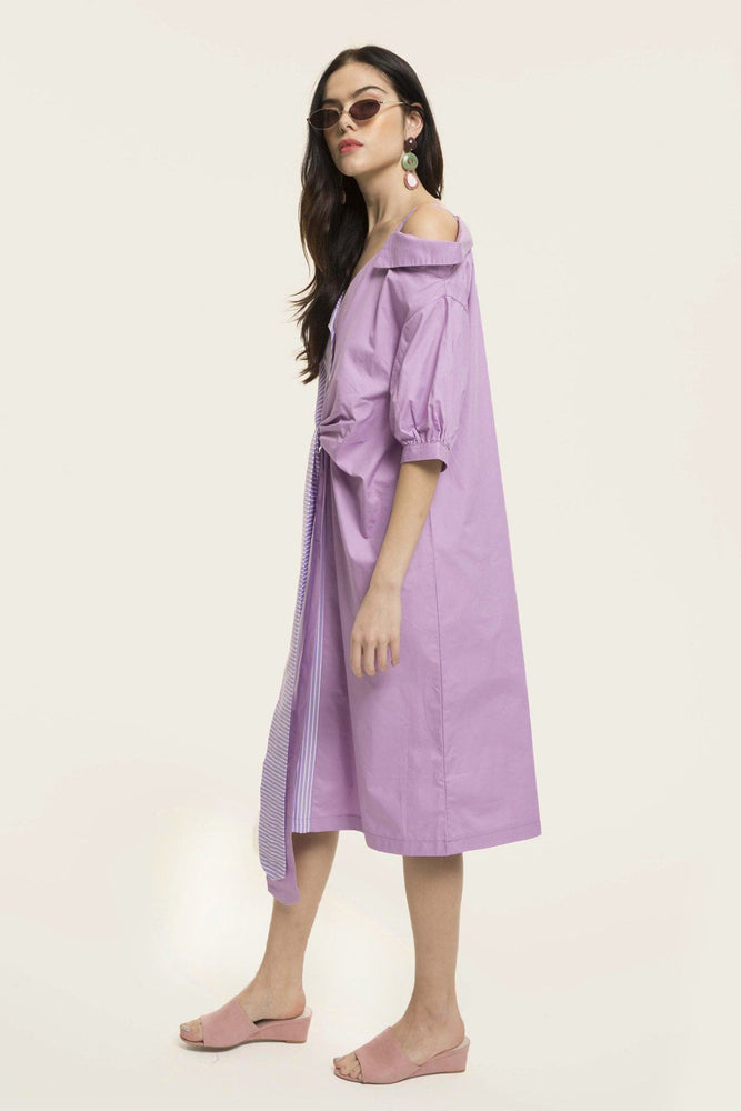 CLOTHING - Purple Stripes Asymmetric Of Shoulder Shirt Dress