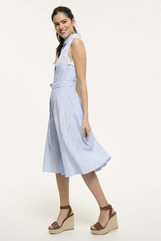 CLOTHING - Baby Blue Checked Print Midi Dress