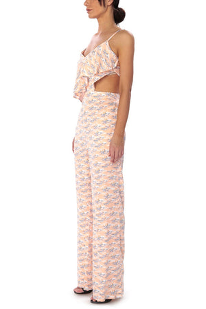 Ruffled Jumpsuit with Cutout