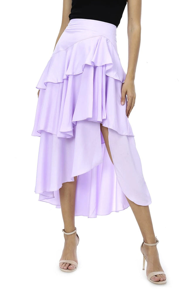 High-Low Ruffle Tired Liclac Midi Skirt