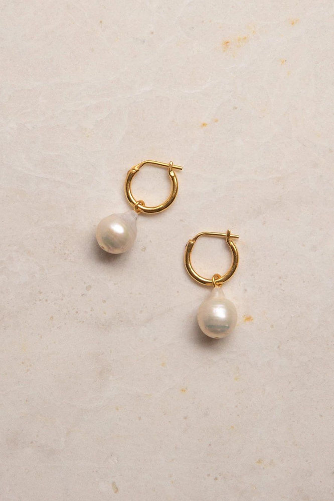 Eva Pearl Sleeper Hoops - GOLD