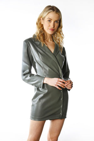 Load image into Gallery viewer, Vegan Leather Blazer Front Wrap Dress