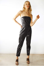 Vegan Leather Strapless Jumpsuit